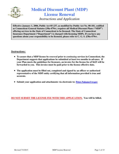 """Medical Discount Plant (Mdp) License Renewal Form"" - Connecticut Download Pdf"
