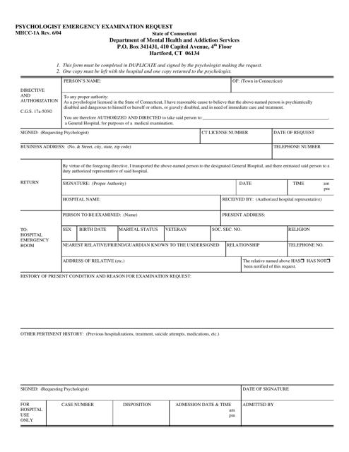 Form MHCC-1A  Printable Pdf