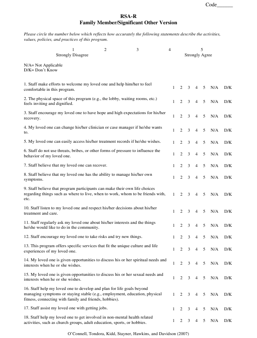 """""""Rsa-R Family Member/Significant Other Version Survey Template"""" Download Pdf"""
