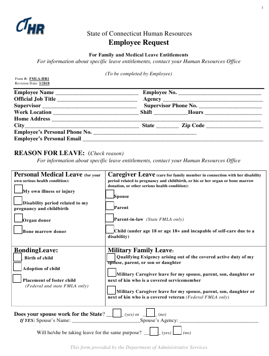 Form FMLA-HR1  Printable Pdf