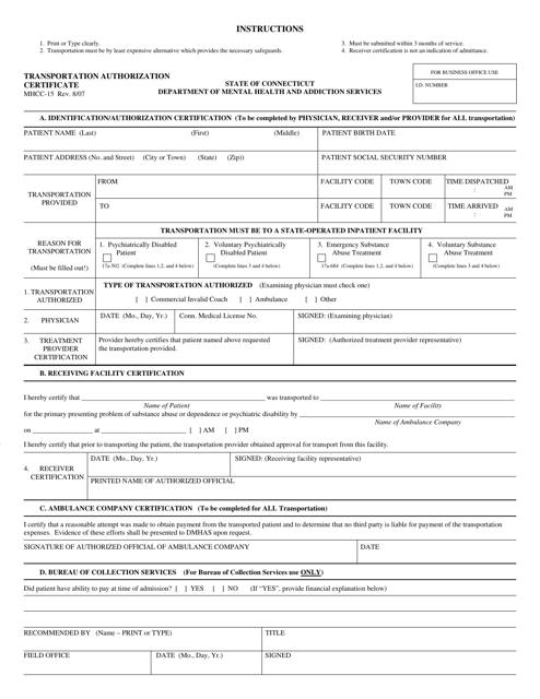 Form MHCC-15  Printable Pdf