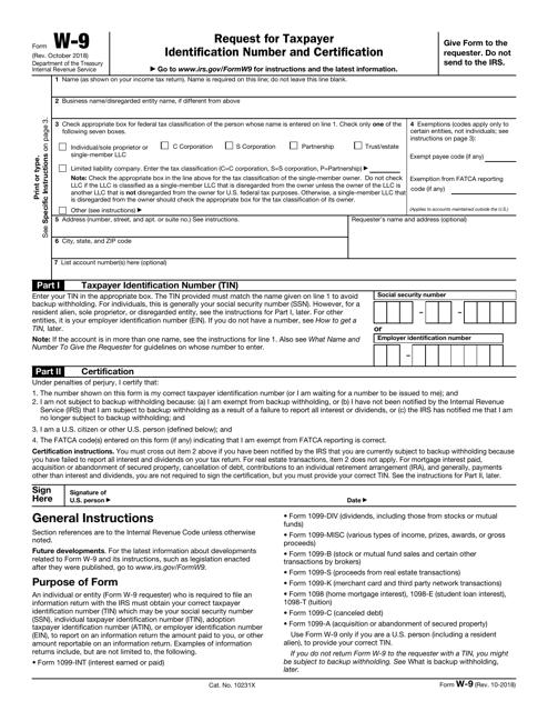 IRS Form W-9 Printable Pdf