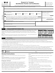 IRS Form W-9 Request for Taxpayer Identification Number and Certification