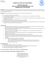 "CTMD Form 5-3 ""Application for Appointment to the Connecticut State Guard Reserve"" - Connecticut"