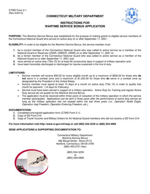CTMD Form 2-1  Printable Pdf