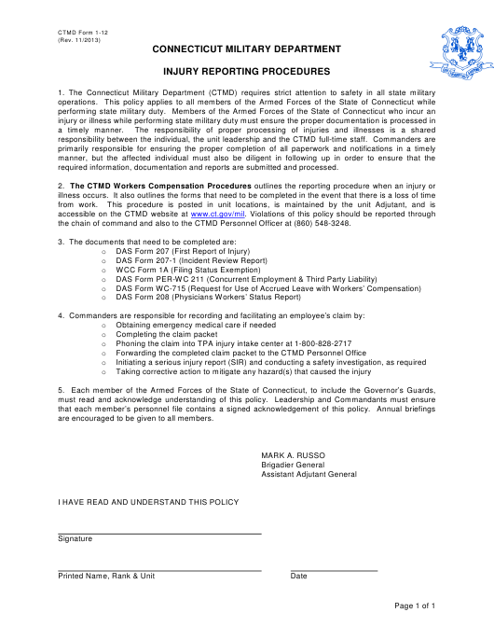 CTMD Form 1-12  Printable Pdf