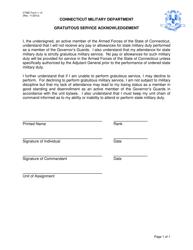 """CTMD Form 1-13 """"Gratuitous Service Acknowledgement"""" - Connecticut"""