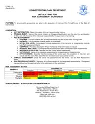 """CTMD Form 1-8 """"Risk Management Worksheet"""" - Connecticut"""