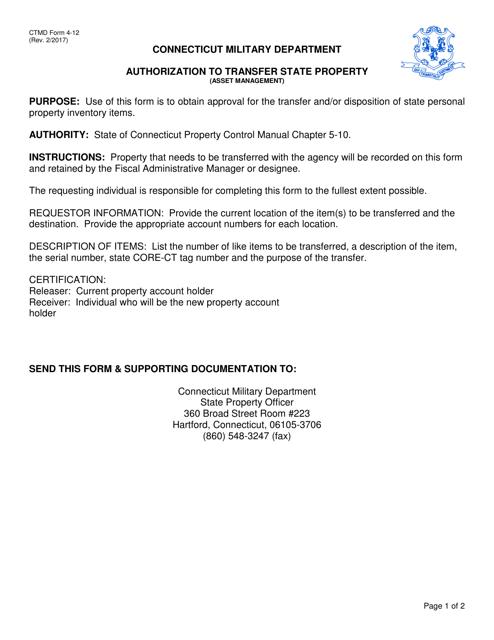 CTMD Form 4-12  Printable Pdf