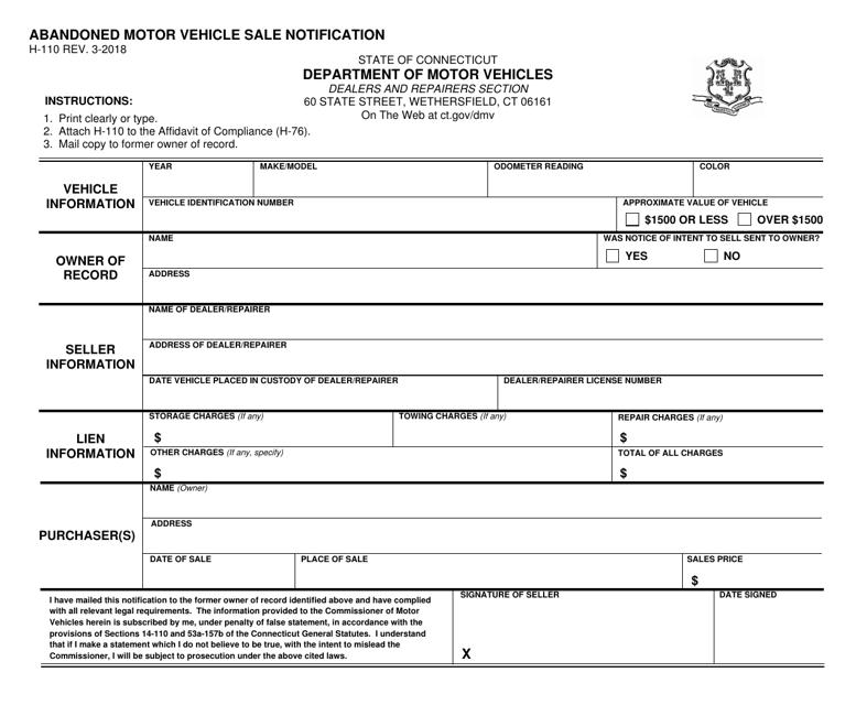 Form H-110  Printable Pdf