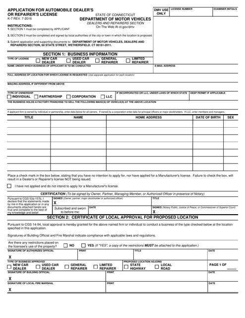 Form K-7  Printable Pdf