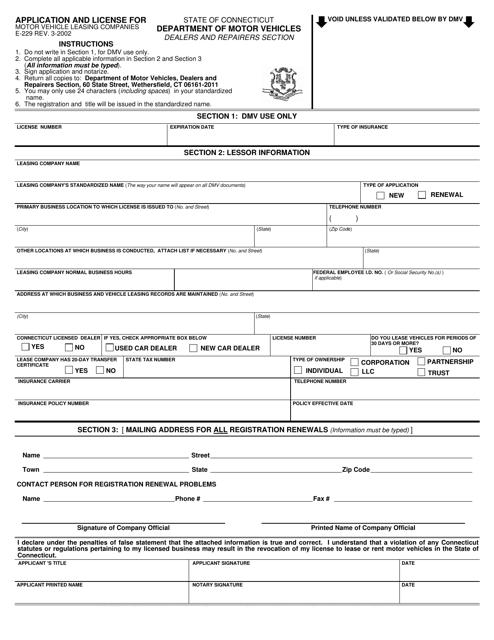 Form E-229  Printable Pdf