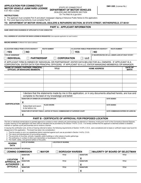 Form K-91  Printable Pdf