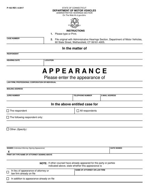 Form P-163  Printable Pdf
