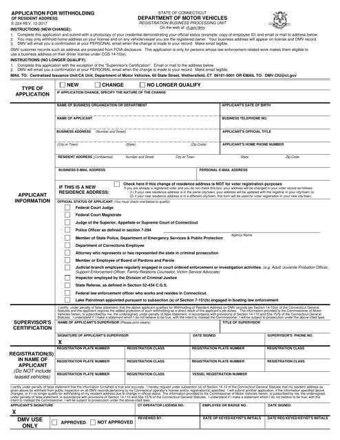 Form E-224  Printable Pdf