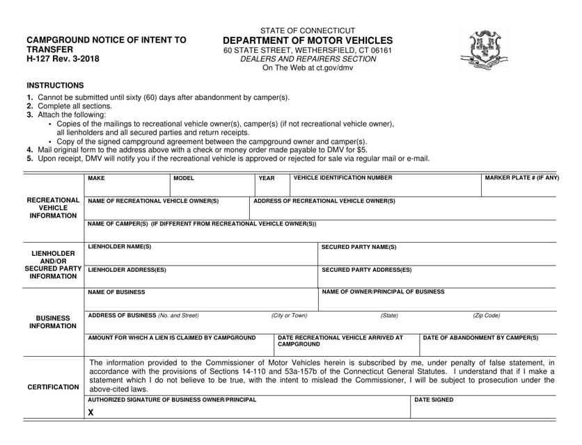 Form H-127  Printable Pdf