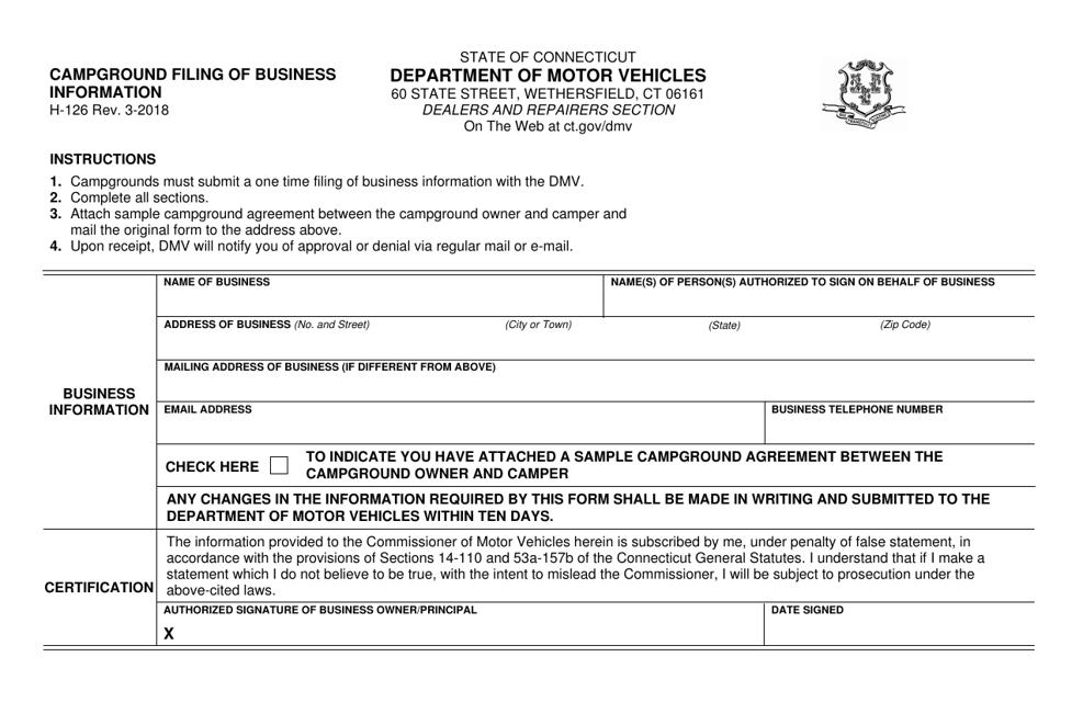 Form H-126  Printable Pdf