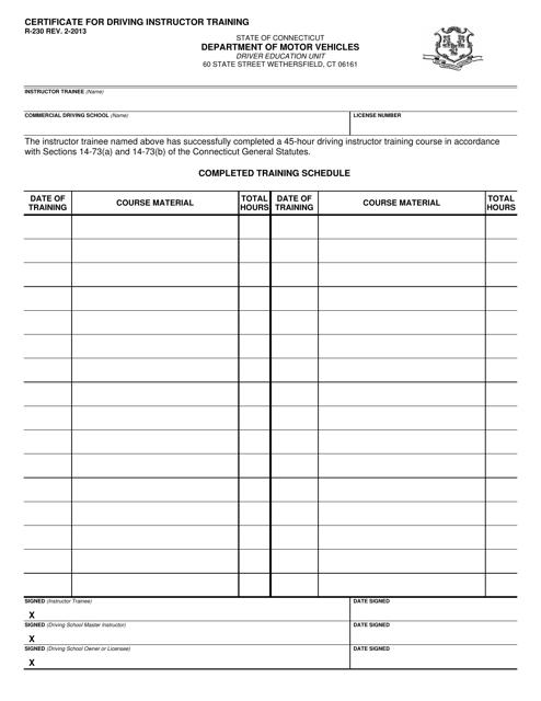 Form R-230  Printable Pdf