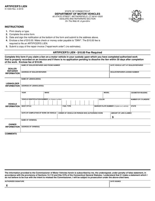Form H-100A  Printable Pdf