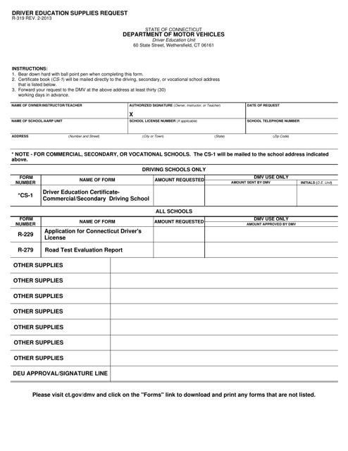 Form R-319  Printable Pdf