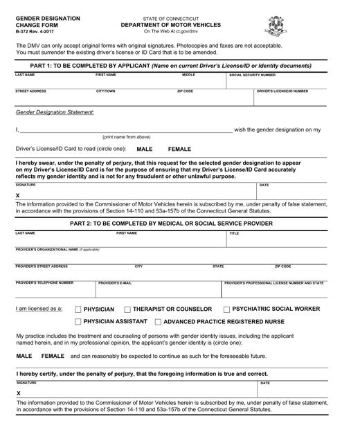 Form B-372  Printable Pdf