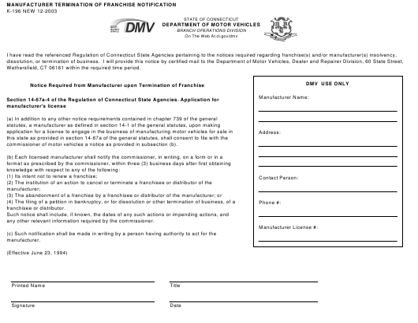 Form K-196  Printable Pdf