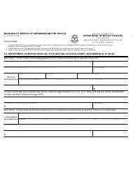 Form H-109 Municipality Report of Abandoned Motor Vehicle - Connecticut