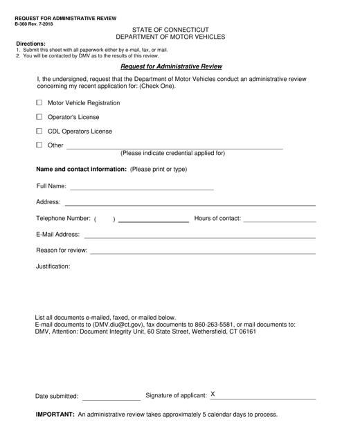 Form B-360  Printable Pdf