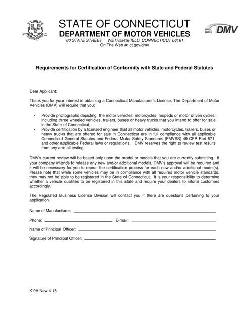 Form K-9A  Printable Pdf