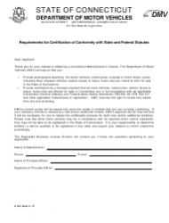 Form K-9A Requirements for Certification of Conformity With State and Federal Statutes - Connecticut