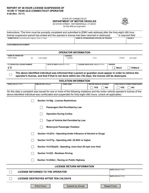 Form A-88  Printable Pdf