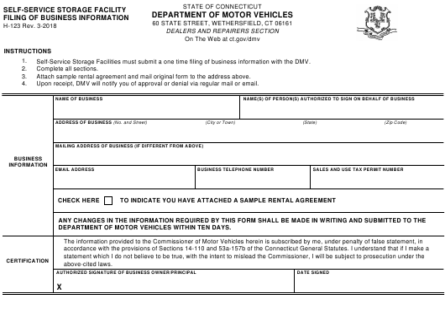 Form H-123  Printable Pdf