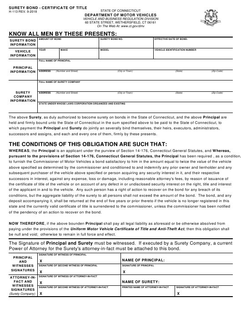 Form H-113  Printable Pdf
