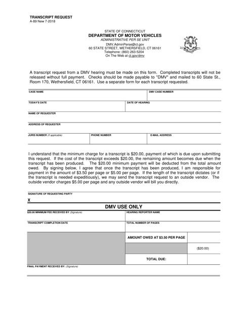 Form A-89  Printable Pdf