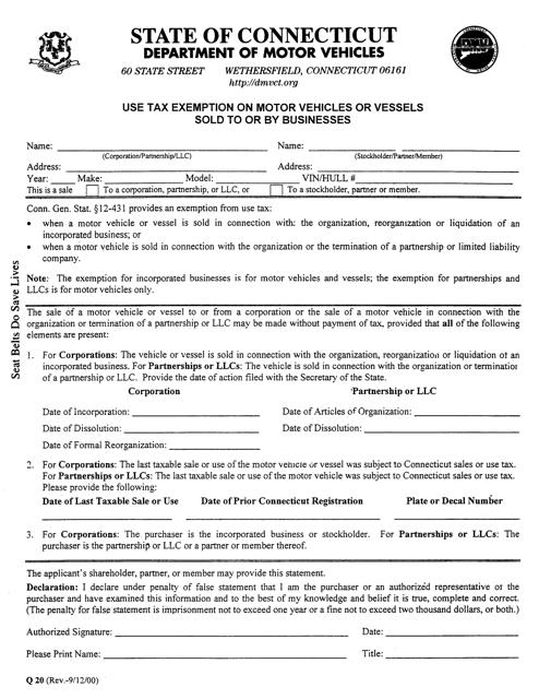 Form Q-20  Printable Pdf