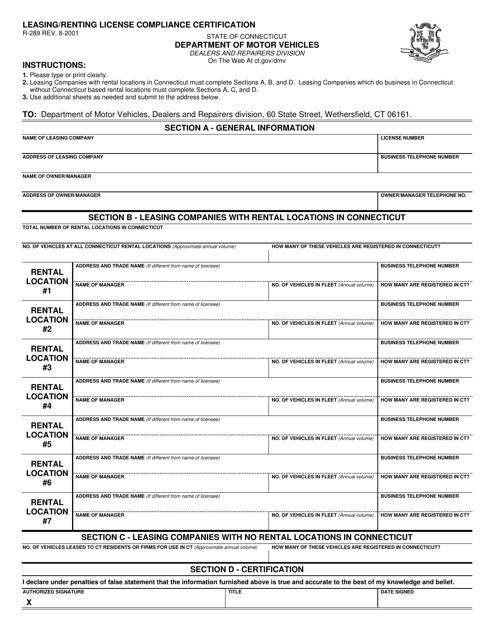 Form R-289  Printable Pdf
