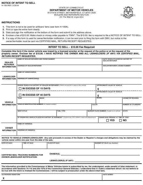 Form H-100  Printable Pdf