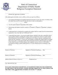 """""""Religious Exemption Statement Form"""" - Connecticut"""