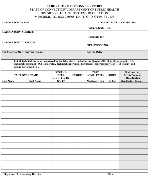 """Laboratory Personnel Report"" - Connecticut Download Pdf"