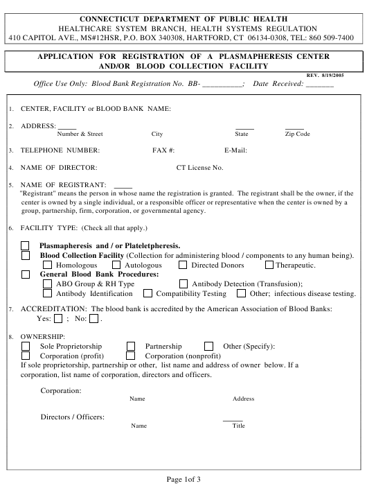 """Application for Registration of a Plasmapheresis Center and/Or Blood Collection Facility"" - Connecticut Download Pdf"
