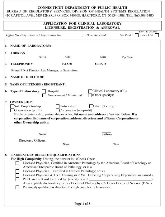 """Application for Clinical Laboratory Licensure, Registration and Approval"" - Connecticut Download Pdf"