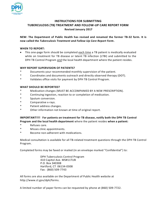 "Instructions for ""Tuberculosis (Tb) Treatment and Follow-Up Care Report Form"" - Connecticut Download Pdf"