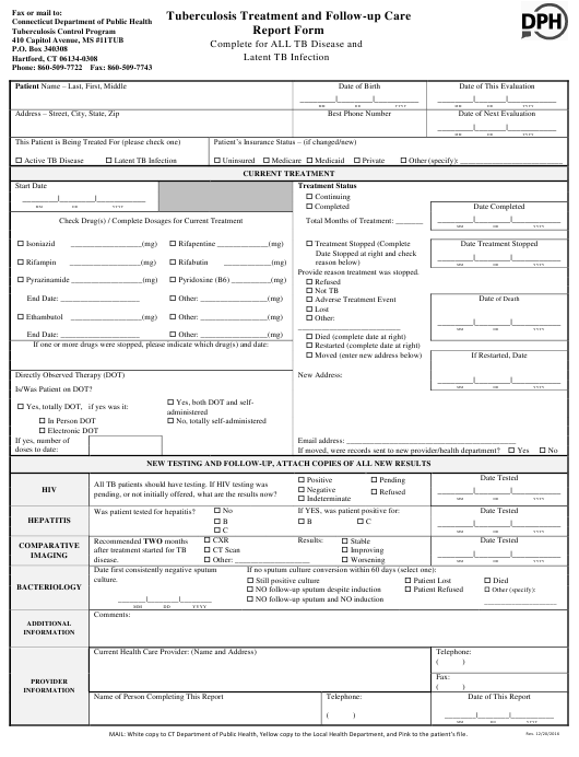 """""""Tuberculosis Treatment and Follow-Up Care Report Form"""" - Connecticut Download Pdf"""