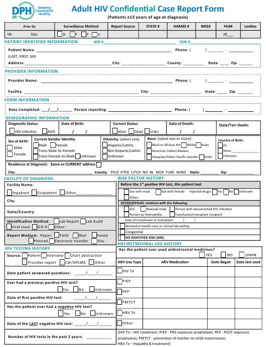 """Adult Hiv Confidential Case Report Form"" - Connecticut Download Pdf"