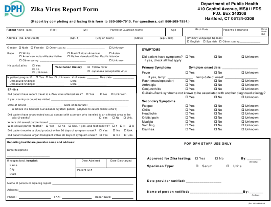 """Zika Virus Report Form"" - Connecticut Download Pdf"