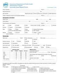 """Varicella Case Report Form"" - Connecticut"