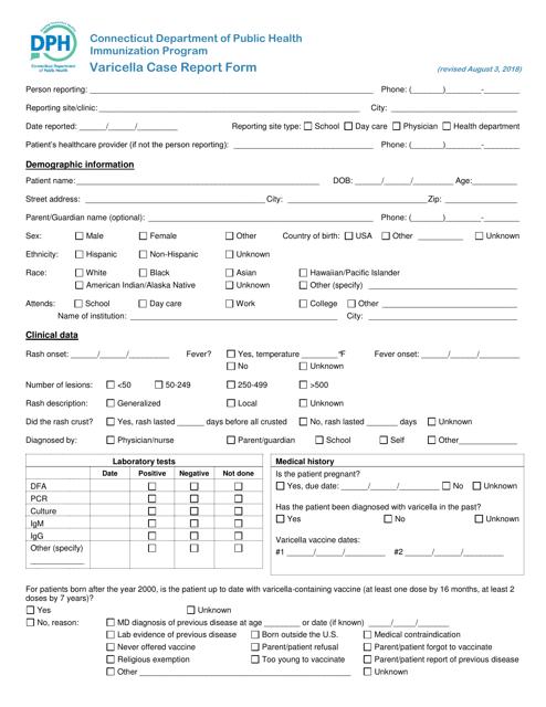 """Varicella Case Report Form"" - Connecticut Download Pdf"