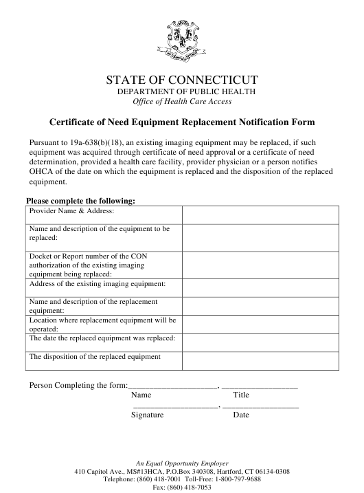 """Certificate of Need Equipment Replacement Notification Form"" - Connecticut Download Pdf"