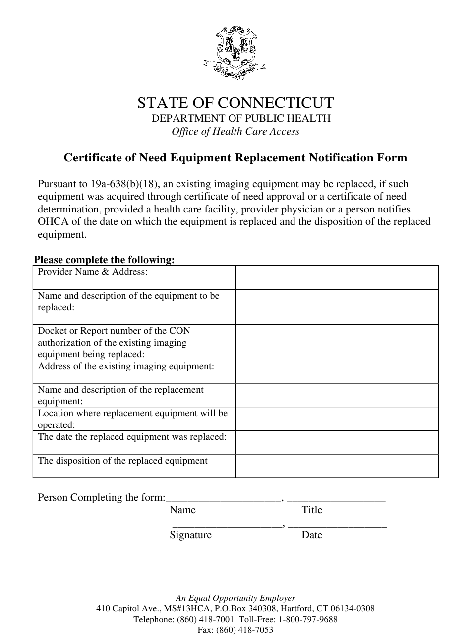 certificate equipment replacement form notification pdf templateroller connecticut template