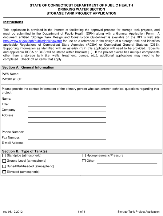 """Storage Tank Project Application Form"" - Connecticut Download Pdf"
